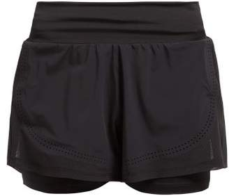 adidas by Stella McCartney Double Layer Stretch Shorts - Womens - Black