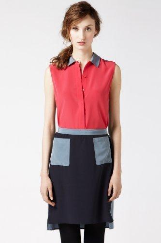 Lacoste Sleeveless Crepe Silk Color Block Henley Dress