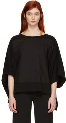 MM6 Maison Martin Margiela Black Mixed Jersey Drop Sleeve T-Shirt