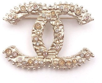 Chanel Gold Tone Hardware CC Peach Crystal Brooch