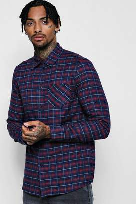 boohoo Pink Check Long Sleeve Regular Fit Shirt