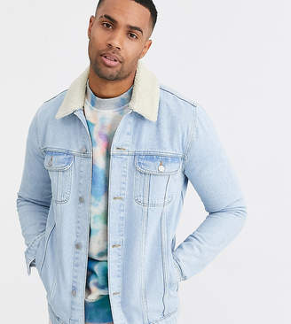 Design DESIGN Tall denim jacket with detachable borg collar in light wash