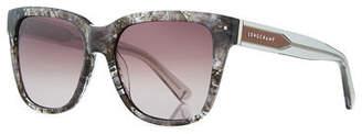 Longchamp Thick Square High-Temple Sunglasses