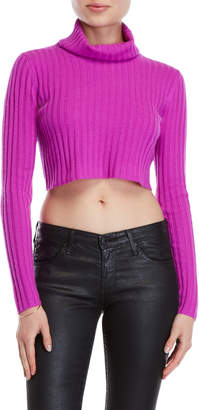Milly Cashmere Cropped Turtleneck Sweater