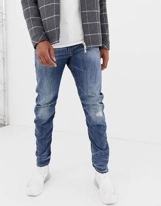 G Star G-Star Arc 3d slim fit super stretch denim jean in mid wash with distressed detail