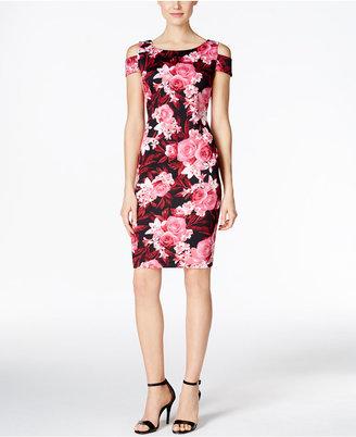 Connected Floral-Print Cold-Shoulder Sheath Dress $69 thestylecure.com