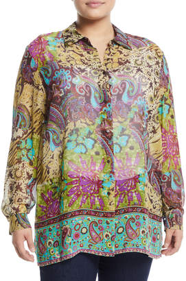 Go Silk Silk Medallion-Print Button-Front Blouse, Plus Size