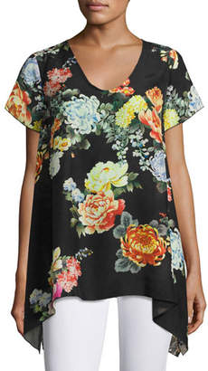 Johnny Was Ziara Printed Handkerchief-Hem Tunic, Black, Plus Size
