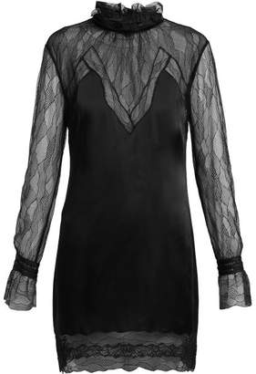 Jonathan Simkhai Lace And Satin Mini Dress - Womens - Black