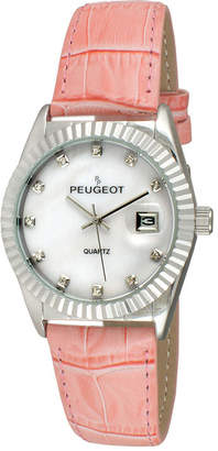 Peugeot Women's Silver Tone Coin Edge Bezel Crystal Marker Pink Leather Stap Watch