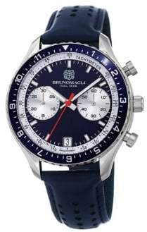 Bruno Magli Marco 1081 A Chronograph Stainless Steel & Leather-Strap Watch