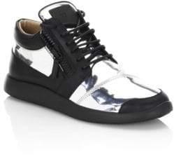 Giuseppe Zanotti Metallic Runner Leather Sneakers