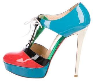Christian Louboutin Patent Leather Cutout Booties