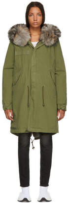 Mr & Mrs Italy Green Long Fur-Lined Parka