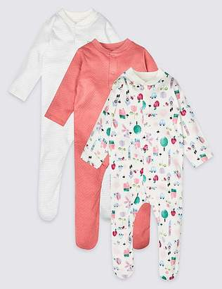 6f3a19c835cd ... Marks and Spencer 3 Pack Pure Cotton Sleepsuits