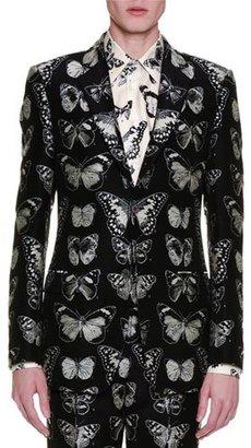 Alexander McQueen Moth-Jacquard Blazer, Black/Silver $2,695 thestylecure.com