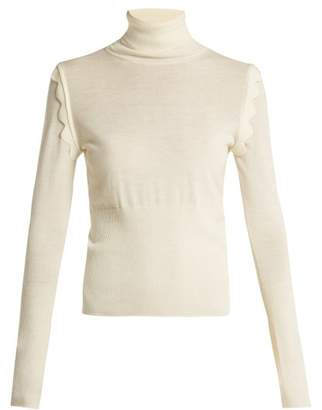 Chloé Scallop Trimmed Wool Sweater - Womens - Ivory