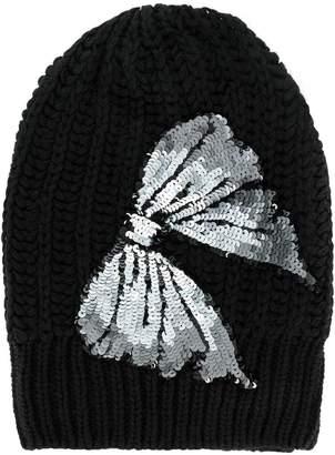 Blugirl sequin bow knitted beanie