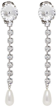 Miu Silver Long Crystal Earrings