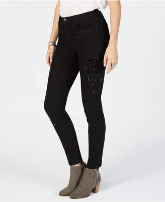 Style&Co. Style & Co Velvet-Applique Curvy-Fit Skinny Jeans, Created for Macy's