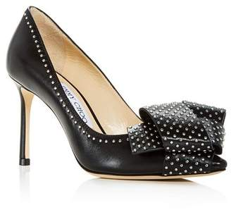 Jimmy Choo Women's Tegan 85 Studded Leather High-Heel Pointed Toe Pumps