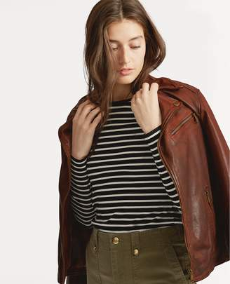 Ralph Lauren Tumbled Leather Moto Jacket