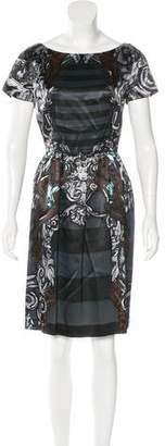 Prada Mixed Print A-Line Dress
