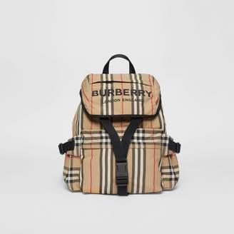 Burberry Logo Print Icon Stripe Nylon Backpack