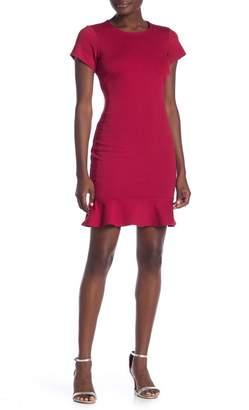 Vanity Room Solid Ruffle Hem Sheath Dress