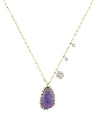 Meira T 14K Diamond, Mother of Pearl & Tanzanite Doublet Pendant Necklace