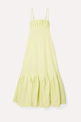 Rosie Assoulin Cami Gathered Cotton-poplin Midi Dress - Pastel yellow
