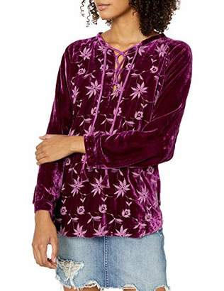 Pete & Greta by Johnny Was Women's Long Sleeve Velvet Embroidered Blouse