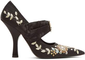 Fabiola point-toe embroidered moire pumps