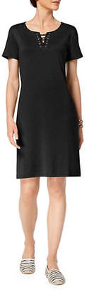 Karen Scott Lace-Up Cotton Dress