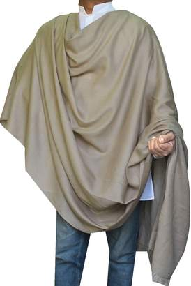 Off-White Maple Clothing Large Prayer Shawl Pure Wool Wrap Mens Womens India Clothing (Grey)