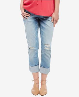 Motherhood Maternity Light-Wash Cropped Jeans