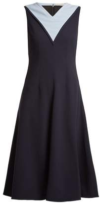 Emilia Wickstead Arlene Contrast Panel Stretch Crepe Dress - Womens - Navy
