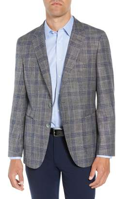 BOSS Heston Trim Fit Plaid Wool Blend Sport Coat