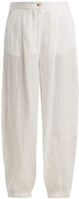 Loewe Striped wide-leg linen-blend trouser