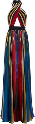 Elie Saab Striped Silk Georgette Halter Dress