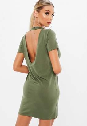 Missguided Khaki Low Back T-Shirt Mini Dress