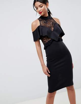 Asos DESIGN Ruffle Front Sheer Lace Bodycon Midi Dress