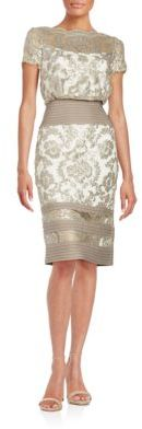 Tadashi Shoji Paillette Embroidered Lace Blouson Dress $359 thestylecure.com