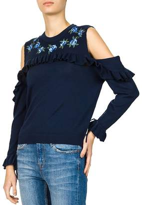 The Kooples Ruffled Cold-Shoulder Sweater