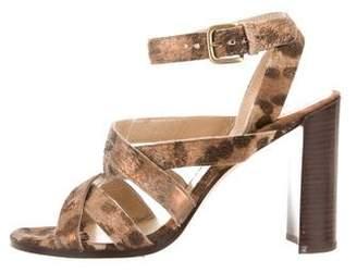 Stuart Weitzman Ponyhair Metallic Sandals