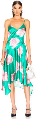 Fleur Du Mal Handkerchief Dress in Mega Rose Print & Monaco Green | FWRD