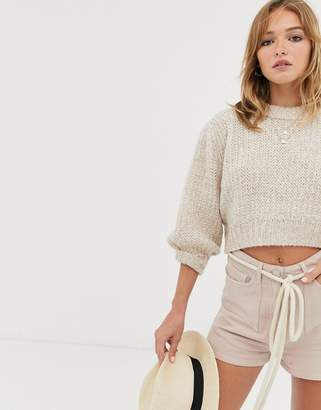 Asos Design DESIGN chunky cropped sweater with puff sleeve