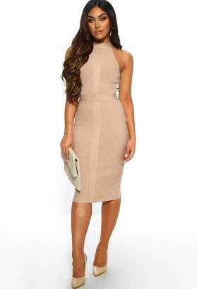 Pink Boutique Another Classic Nude Bandage Midi Dress