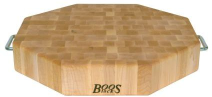 """John Boos & Co. Maple End-Grain Octagonal Chopping Block with Stainless Steel Handles, 18"""" x 18"""" x 3"""""""