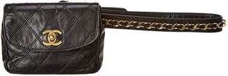 Chanel Black Quilted Lambskin Leather Chain Belt Bag